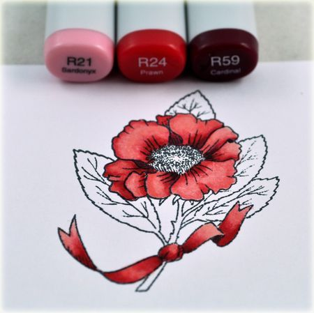 coloring red flowers with Copics   Thinking Inking by Debbie Olson