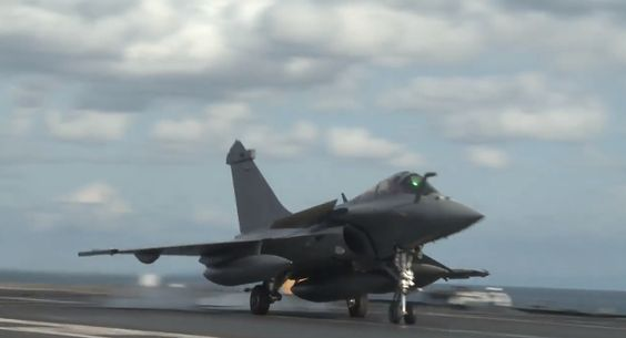 """Footage from aboard aircraft carrier Charles de Gaulle,cruising towards Indian Ocean.Before it crossed Suez Canal Jan.26 carrier battle group """"Arromanches,""""built around nuclear-powered carrier Charles de Gaulle,conducted operations & exercises with allied forces in Mediterranean sea.12 Rafale,9 Super Étendard Modernisés (SEM),one E-2 Hawkeye & 4 helicopters embarked on carrier that is expected to join French military operation in Iraq against the Islamic State soon."""