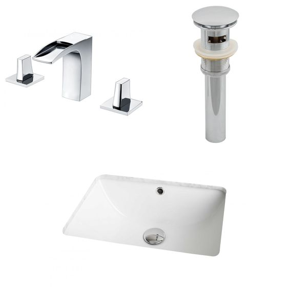 American Imaginations 18.25-in. W x 13.75-in. D Cupc Rectangle Undermount Sink Set In With 8-in. o.c. Cupc Faucet And Drain