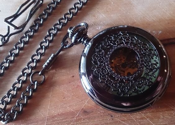 Sophisticate Pocket Watch by PocketWatchPurveyor Black Mechanical Movement includes pocket chain. Makes a perfect groomsmen gift.