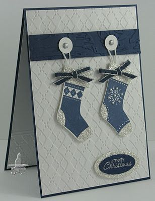 Stitched Stockings card. Navy & White.