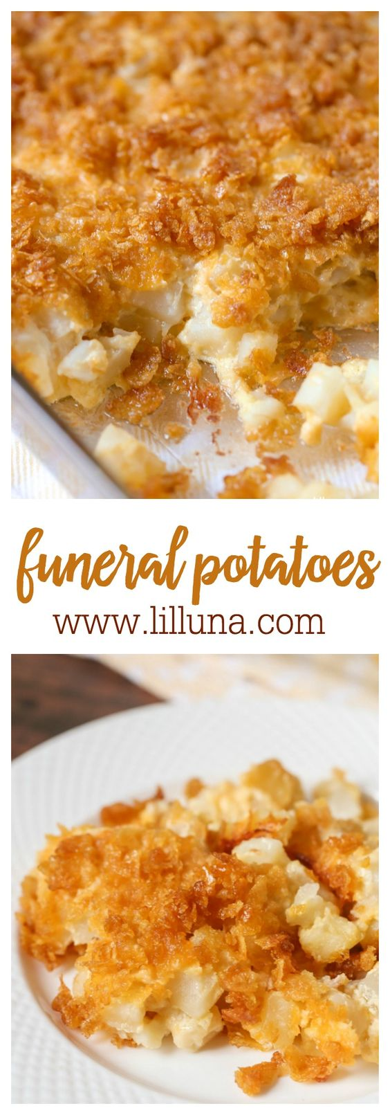 Funeral Potatoes. Ingredients include frozen hash browns, cheese, corn flakes, cream of chicken soup, & butter! *try with Ritz instead of corn flakes*