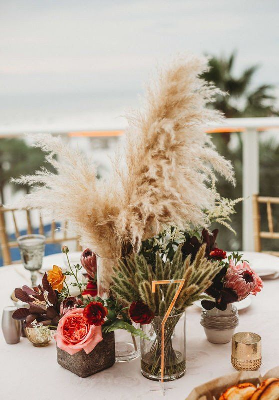 These 2019 Wedding Trends Will Be Huge in the New Year - pampas grass centerpiece {Bohemian Road Photography}