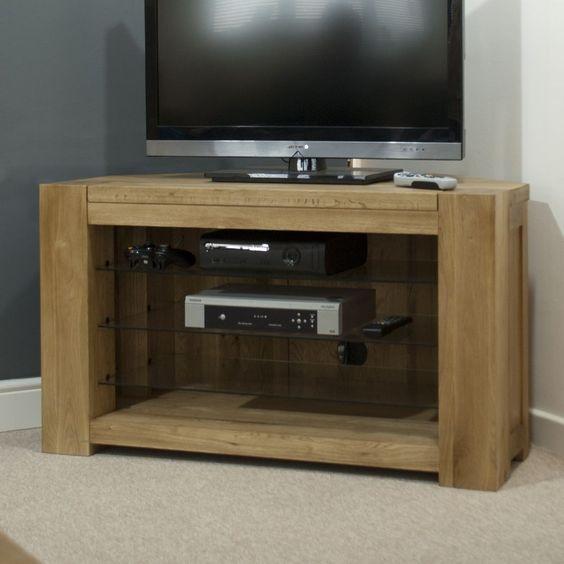 Michigan television cabinet corner stand unit solid oak living room furniture