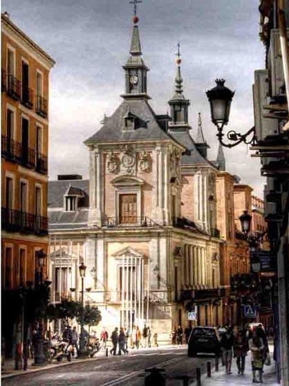 Calle Mayor y Palacio de la Villa, Madrid Spain