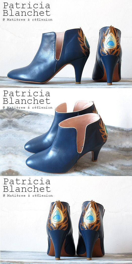 Nouvelle collection Patricia Blanchet Gwynette #patriciablanchet #gwynette #bleu #paon #gold #fashion #itshoes #ss15 #bottines #lowboots #ankleboots #shoes #chaussures