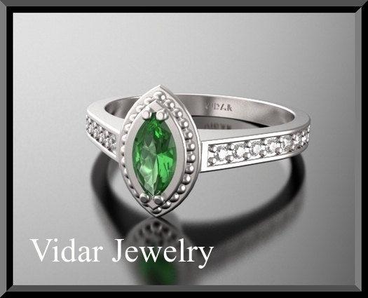 14K Green Tourmaline Diamond Engagement  Ring by Vidarjewelry, $1550.00