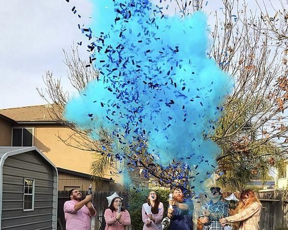 Gender Reveal Smoke Cannon Blue Gender Reveal Smoke Confetti Cannon Gender Reveal Confetti Gender Reveal