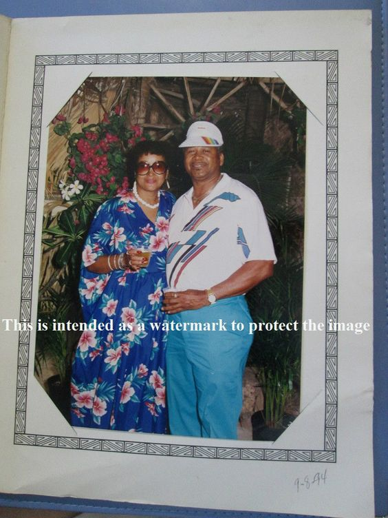 Hawaiian 90's Souvenir Photo of African American Middle Aged Couple Woman Man…