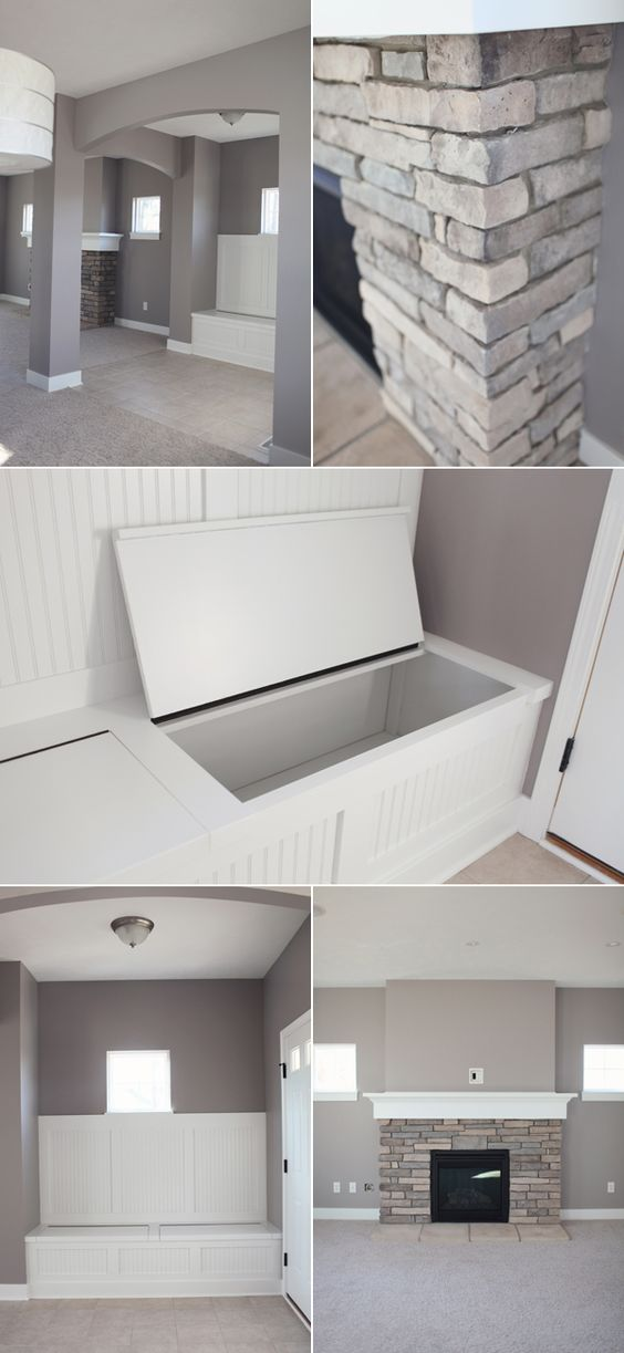"""Benjamin Moore Stormy Monday,,,,love it all......so many """"natural neutrals""""...looks like river rocks all over with crisp whites and then your warm wood floor and ceiling---great bench template too"""