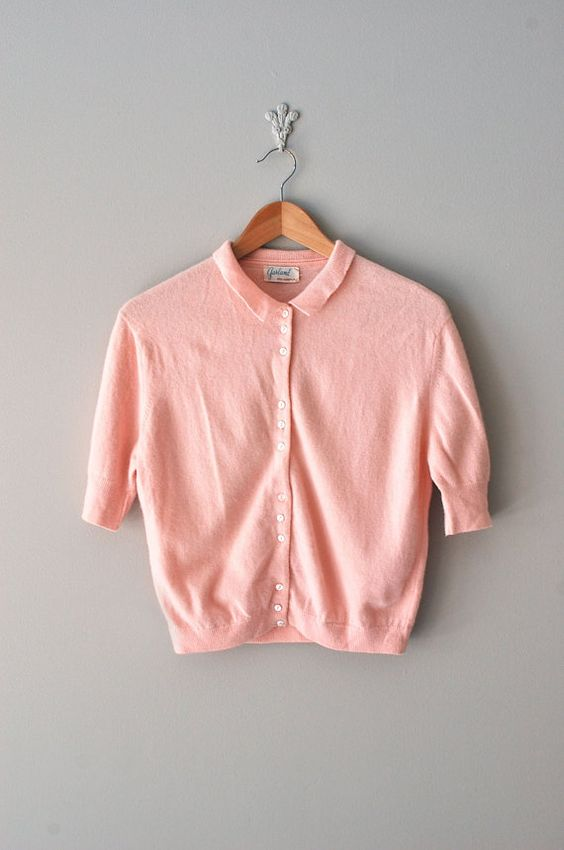 Totally in love with this 1950s pink cardigan pink $48