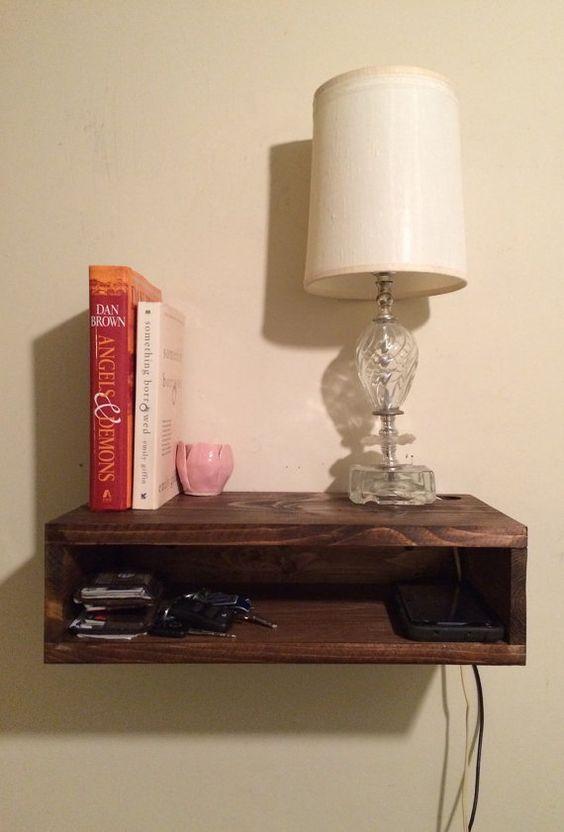 Floating Bedside Table, Rustic Nightstand, Barn Wood Style
