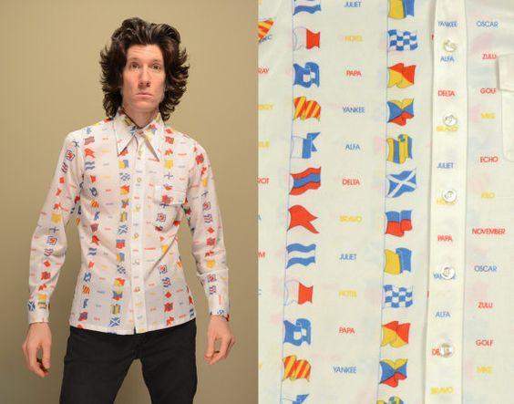 vintage NATO alphabet shirt 70s disco shirt by CarnivalOfTheManiac