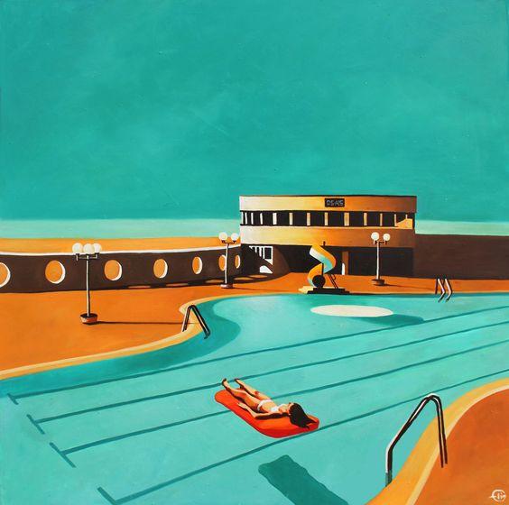 Emilie arnoux elim painter artist peintre piscine for Piscine trouville