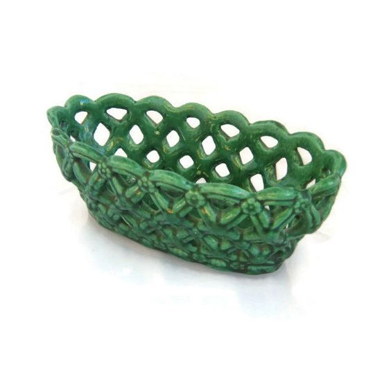 Mid century ceramics. Bread basket. Old green ceramic bowl. Fruit basket. Woven bowl. Braided basket. Braided bowl. Vintage. ($20) found on Polyvore