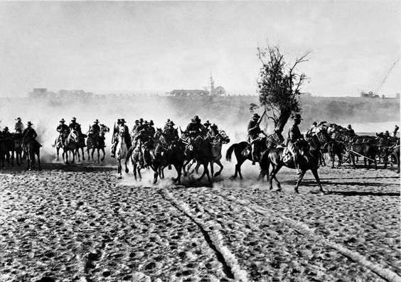 German South-West Africa, 1915. South African mounted troops prepare to advance into German Southwest Africa. Some South Africans opposed supporting the British and launched a short but unsuccessful rebellion.