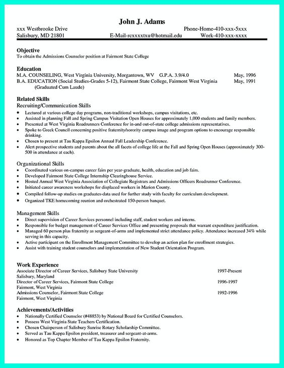 How to Write a College Admission Résumé - student resume for college