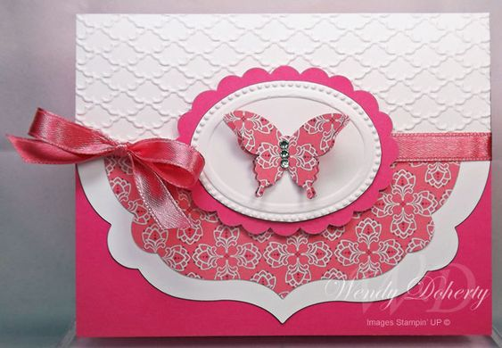 handmade card: Framed Butterfly by Wdoherty ... luv this design ... all die cutting and embossing folder texture ... just two colors ... Stampin' Up!: