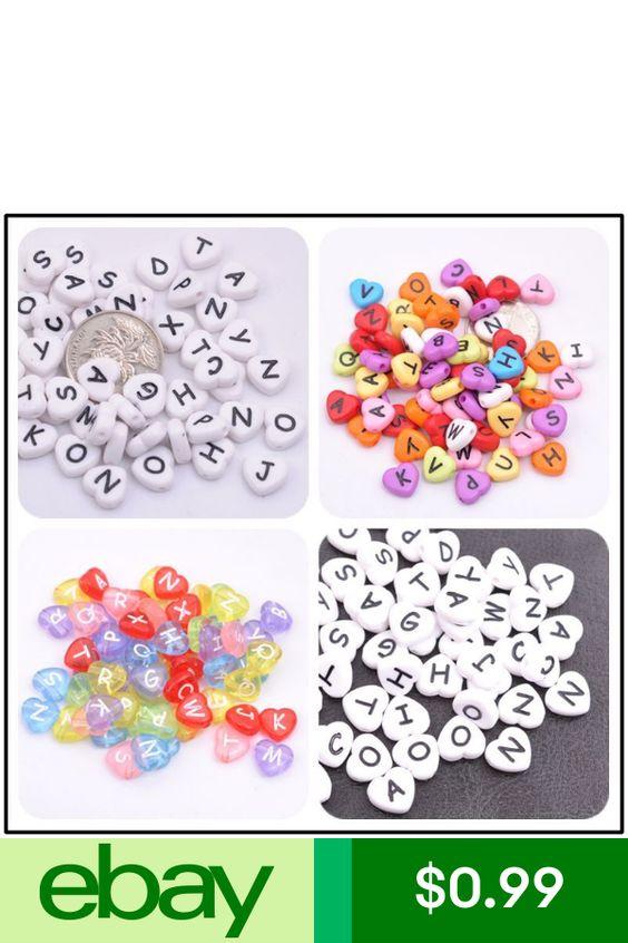 20//50//100Pcs Heart Acrylic Mix LETTER/&Colour ALPHABET Charms Loose BEADS 10MM