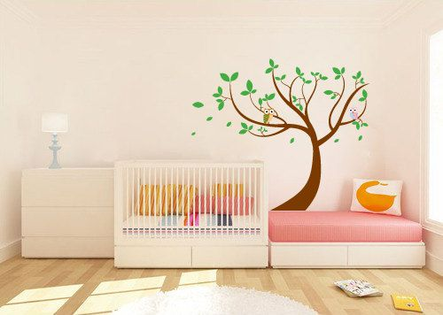 ON SALE Leaning tree vinyl wall decal with owls by wallinspired, $80.00