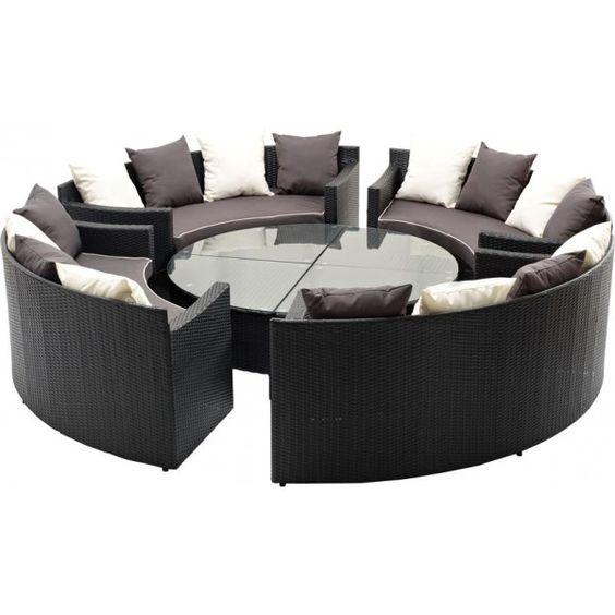 Luksus lounge sofa sæt   polyrattan havemøbler i 8 dele   4 stk ...