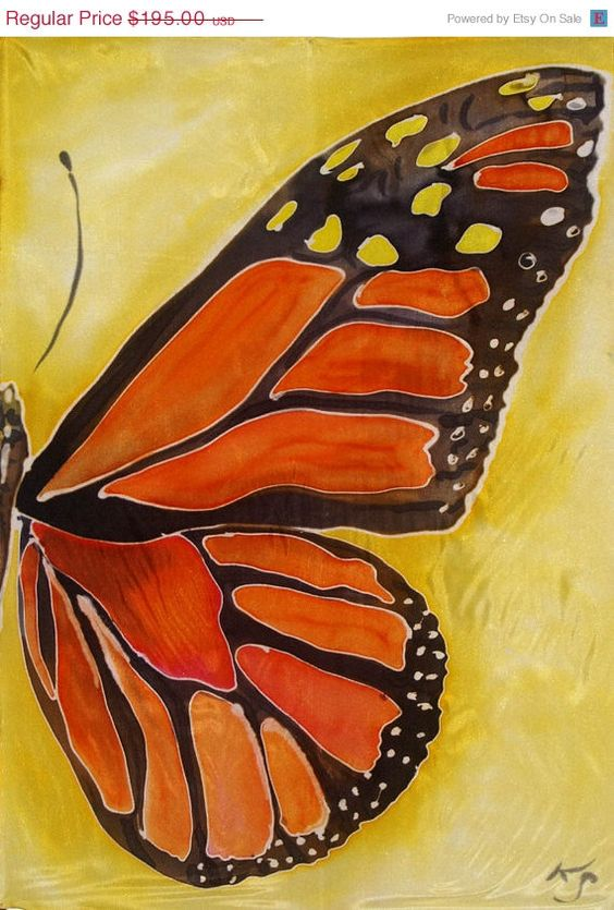 Silk Painting Wall Hanging Monarch Butterfly Wing By