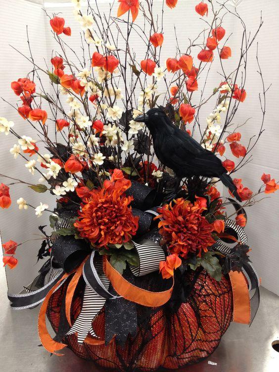 Fall Floral Arrangements At Michaels | My Floral Designs @ Michaels / Black & Orange Pumpkin