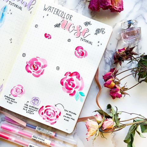 These Roses Are Super Easy To Do With Brush Pens Watercolors Or
