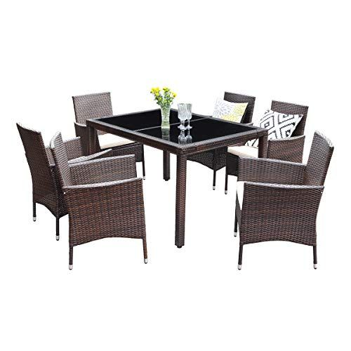 Wisteria Lane Outdoor Wicker Dining Set 7 Piece Patio Dinning