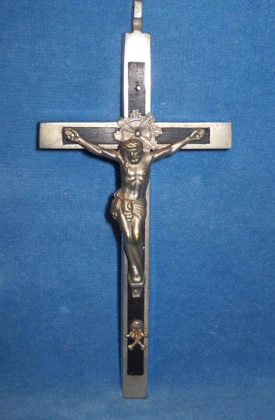 "$277.77 Details about Antique Victorian Catholic Pectoral Cross Crucifix Skull Cross Bones 6"" x 2"""
