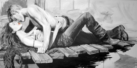 Janusz Haka, Stay, Serigrafia e intervento a mano su tela, 180x88 cm