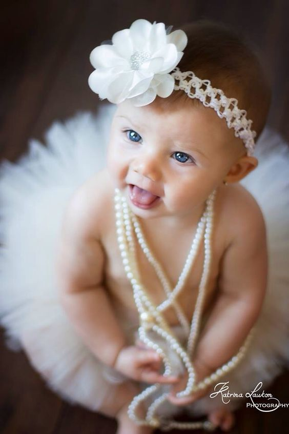 6 month baby girl pearls/vintage
