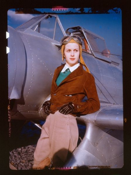 Female Aviator in Front of a Fighter Plane, Kodachrome film colour test, Kodak Research Laboratories, Rochester, New York, 1939. S)
