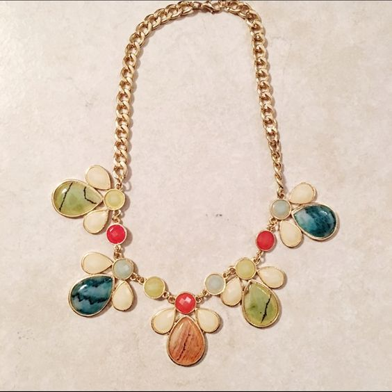 Multi-Color Statement Necklace Fun, statement piece for the holidays! Lots of great colors and hits at a great spot! Jewelry Necklaces