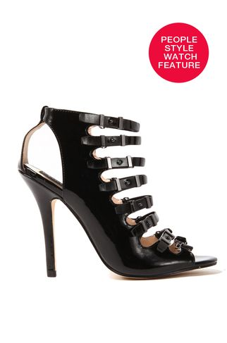 Desiree Strappy Heel in Black Patent | ShopAKIRA | AKIRA Chicago | Featured Product in @People StyleWatch | Black Heel | Strappy Black Heels | Black Patent Heels | Strappy Peep Toe Heel | Patent Peep Toe Heels | Black Patent Leather Heels