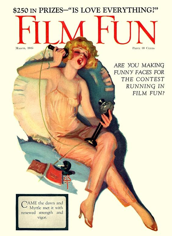 """Came the dawn and Myrtle met it with renewed strength and vigor"" Film Fun Magazine, 1925. Illustration by Enoch Bolles."