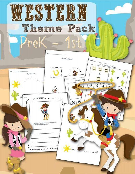 FREE Western Themed Preschool Printable Worksheet Set – Homeschool Kindergarten Worksheets