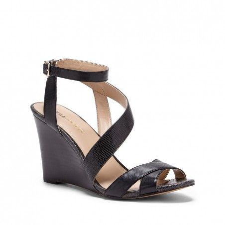 Women's Black Cream 3 1/4 Inch Strappy Wedge Sandal | Viktoria by ...