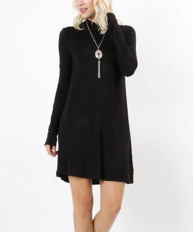 Look what I found on #zulily! Black Mock Neck Shift Dress #zulilyfinds