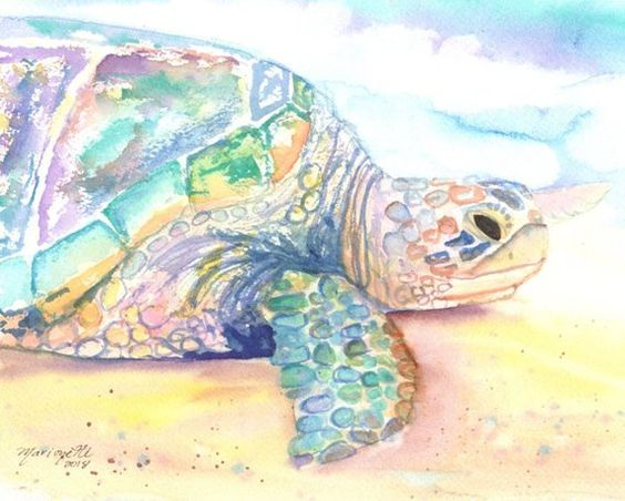 Hawaii Turtle Art Sea Turtle Wall Art Sea Turtle Decor Hawaiian