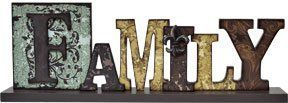 Family Table Sign Distressed Cut-Out Typeset Letters Fleur De Lis Country Primitive Décor
