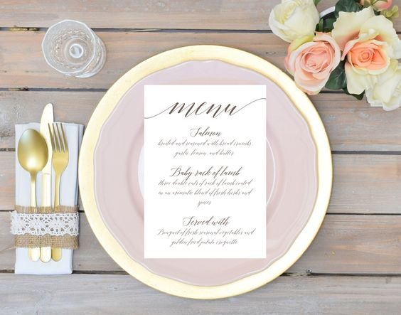 Printable Wedding Event Menu Card Template, Cursive Modern - event menu template