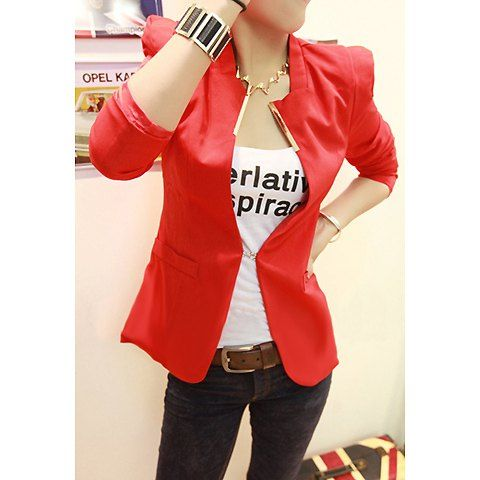 Bright Style Long Sleeves Stand-Up Shoulder Design Women's Blazers, RED, M in Blazers | DressLily.com