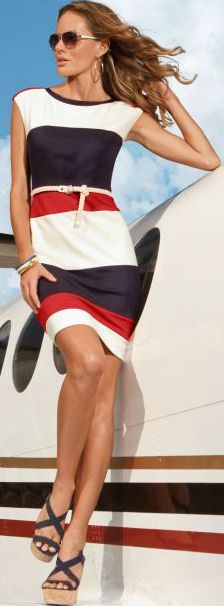 Red, white, and blue dress: