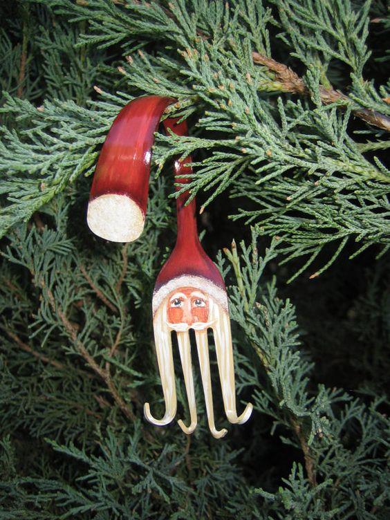 Painted Fork Santa Christmas Ornament