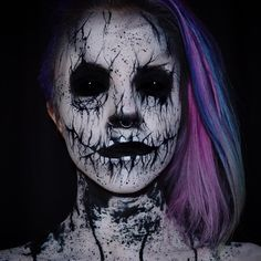 """""""October 5th: A little late but here is my @shakenhallow inspired makeup. ✖️ Used Only #Mehron white cream paint & Black Paradise paint. #Halloween…"""""""
