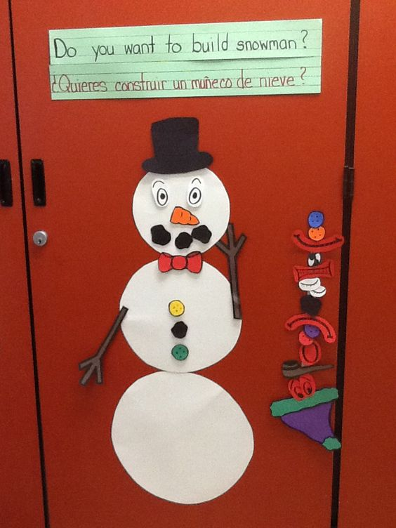 Cut out a snowman shape from cardboard or poster board and mount it to the wall. Cut out a variety of accompanying facial features and Velcro them to a strip mounted next to the snowman. Put Velcro on the snowman so that children can use the pieces to create their own snowman character throughout the day. We chose to include facial expressions that represent basic emotions for the children to practice becoming familiar with basic emotions such as happy, sad, angry, and scared.