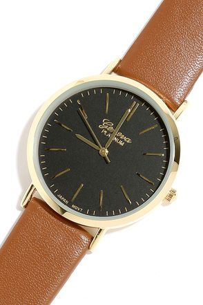 Point in Time Black and Tan Watch
