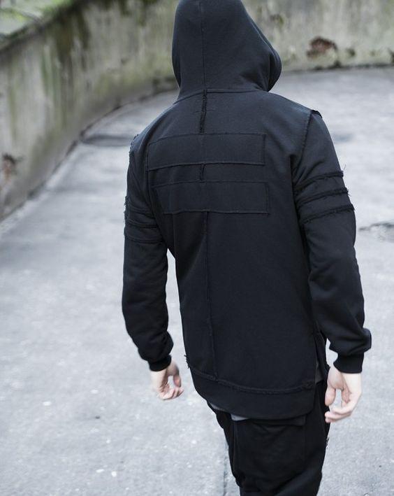 Straped Black Hoodie