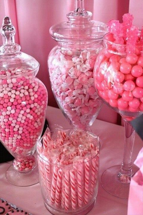 Pink Baby Shower Candy Buffet, what a great way to fill the room with pink cuteness! Check out the link to get your bulk candy by color.